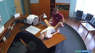 Nurse Alexis gets a hot surprise during her swop at the clinic