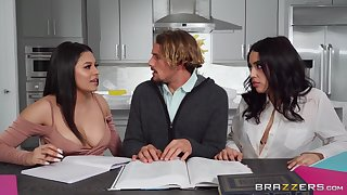Serena Santos with the addition of Vanessa Sky show up so hot during naughty kitchen antics