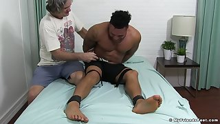 Gagged black dude ass fucked in deviating gay play
