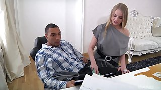 Slim office babe is keen in the air try the black boss's chubby dong