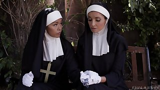 Naughty nun Silvia Saige takes two permanent dicks in her wet holes