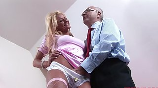 Good-looking fair-haired doll Tia enjoys getting fucked by an older man
