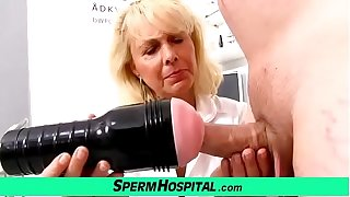 Blonde lady falsify Koko old with young CFNM check-up and handjob