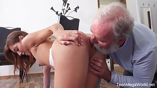 Young chick seduces her step grandpa not later than yoga workout