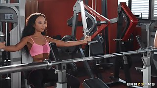 Dicking in the gym in all directions slutty Romy Indy receiving cum in mouth