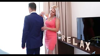 Lustful stepmom in white stockings Kathy Anderson seduces her stepson