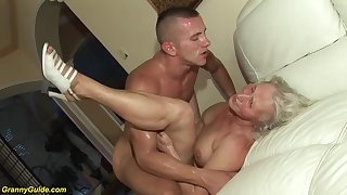 horny 76 years ancient granny gives a wikd tit fuck and extreme deepthroat for the brush young toyboy