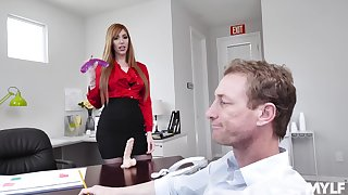 hot secretary Lauren Phillips adores enjoyment from on be imparted to murder table in her office
