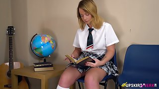 Whorish auric student in the air short kilt skirt Jessica shows missing puffy snatch