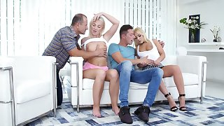Gorgeous blondie Lovita Fate takes fixing in group sex chapter for the first time