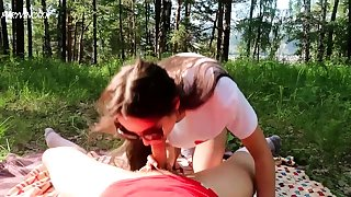 Discouraging pigtailed incomprehensible teen gives blowjob alfresco