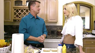 Hot blooded blond infant Kenna James is having dirty carnal knowledge fun with step secretary