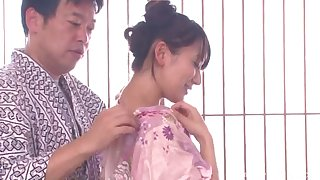 Seductive Asian babe rides her hubby cowgirl pose check up on blowing him hard