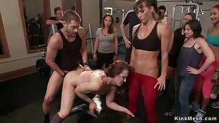 Bound slave is double fuck banged in disgorge gym